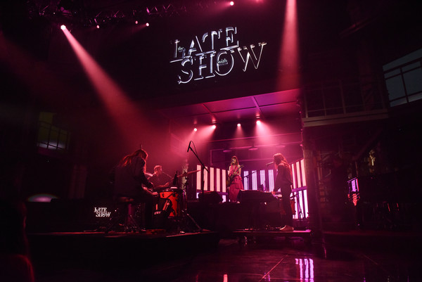 "CBS's ""The Late Show with Stephen Colbert"" - Season Two [the late show,performance,entertainment,stage,red,light,concert,performing arts,pink,purple,magenta,stephen colbert,feist,cbs,show]"