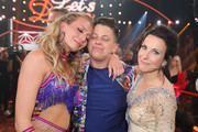 "(L-R)  Regina Luca, Kerstin Ott and Sabrina Mockenhaupt react after the announcement on stage during the 5th show of the 12th season of the television competition ""Let's Dance"" on April 26, 2019 in Cologne, Germany."