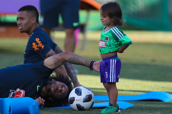 Brazil Training Session - FIFA World Cup Russia 2018 [football,football player,player,blue,ball,social group,green,soccer,play,child,liam,marcelo,russia,sochi,yug-sport stadium,l,brazil training session - fifa world cup,training session]
