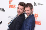 """Miles Kane and Tom Meighan attend the World Premiere of """"Liam Gallagher: As It Was"""" at Alexandra Palace on June 06, 2019 in London, England."""