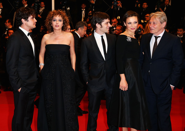 'Miele' Premieres in Cannes [a touch of sin,red carpet,carpet,event,premiere,formal wear,suit,flooring,fashion,dress,public event,valeria golino,jasmine trinca,miele premiere,carlo cecchi,libero de rienzo,riccardo scamarcio,l-r,cannes film festival,premiere of miele]