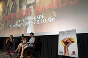 "(L to R) Gaby Natale, Judy Reyes and Edy Ganem respond to questions during a Q&A after a screening of ""Devious Maids"" at LOOK Cinemas on June 6, 2013 in Dallas, Texas."
