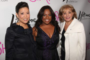 """Lifetime CEO and President Andrea Wong, Sherri Shepherd and Barbara Walters attend the Launch Party for new sitcom """"Sherri"""" at the Empire Hotel on October 5, 2009 in New York City."""