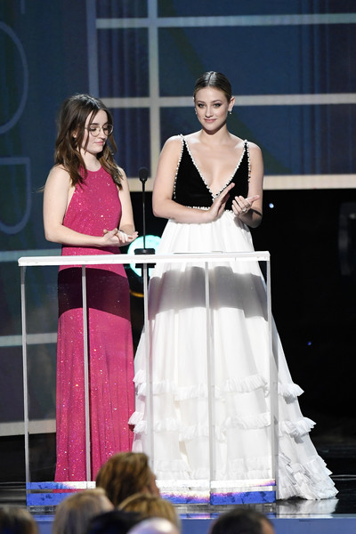 26th Annual Screen ActorsGuild Awards - Inside [dress,fashion,gown,performance,event,shoulder,fashion design,formal wear,competition,talent show,lili reinhart,kaitlyn dever,screen actors guild awards,l-r,california,los angeles,the shrine auditorium,screen actors\u00e2 guild awards,lili reinhart,camila mendes,riverdale,los angeles,screen actors guild awards,actor,sag-aftra,screen actors guild]