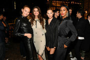 Romee Strijd, Taylor Hill, Elsa Hosk and Jasmine Tookes pose for a photo during the Lily Aldridge parfums launch event at The Bowery Terrace at the Bowery Hotel on September 08, 2019 in New York City.
