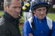 Richard Hills (L) with Paul Hanagan at Lingfield racecourse on April 04, 2012 in Lingfield, England.
