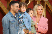 "Justin Scott, Kimberley Walsh and family attend ""The Lion King"" European Premiere at Leicester Square on July 14, 2019 in London, England."