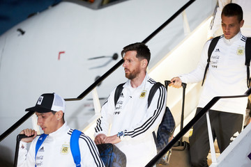 Lionel Messi Angel Di Maria Argentina Team Arrives In Moscow - 2018 FIFA World Cup