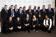 (EXCLUSIVE COVERAGE) Members of the England squad and boyband JLS Adam Johnson, Gareth Barry, Gary Cahill, Leighton Baines, Fraizer Campbell, Ashley Cole, John Terry, Daniel Sturridge, Micah Richards, Rob Green, Joe Hart, Scott Parker, James Milner, Marvin Humes, Aston Merrygold, JB Gill and Orits? Williams attend The England Footballers Foundation Lions and Roses Charity Dinner 2012 in aid of Help For Heroes and Cancer Research UK at The Brewery on February 26, 2012 in London, England.