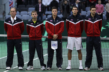 Colin Fleming Dan Evans Lithuania v Great Britain - Davis Cup Day One