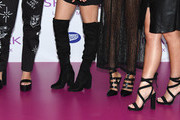 Perrie Edwards, Jesy Nelson, Jade Thirlwall and Leigh-Anne Pinnock of 'Little Mix', Shoe detail, launch their new fragrance 'Wishmaker' at Lakeside Shopping Centre on July 27, 2016 in Thurrock, England.