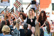"""(L-R) Jade Thirlwall, Leigh-Anne Pinnock, Perrie Edwards and Jesy Nelson of """"Little Mix"""" attend the NBC's """"Today"""" show on June 17, 2014 in New York, New York."""
