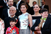 """(L-R) Masahiko Tsugawa, Rio Suzuki, Asaka Seto, Marion Cotillard and Riley Osborne attends the Premiere of """"The Little Prince"""" during the 68th annual Cannes Film Festival on May 22, 2015 in Cannes, France."""