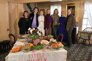 "Amy Pascal, Timothee Chalamet, Eliza Scanlan, Saoirse Ronan, Laura Dern, Florence Pugh,  and Chris Cooper attend  the 'Little Women"" Orchard House photo call at the Louisa May Alcott Orchard House on December 4, 2019 in Concord, Massachusetts."