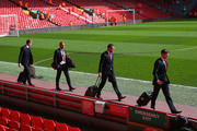 (L-R) Simon Mignolet, Glen Johnson, Rickie Lambert and Steven Gerrard of Liverpool arrive for the Barclays Premier League match between Liverpool and Manchester United at Anfield on March 22, 2015 in Liverpool, England.