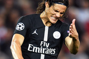 Edinson Cavani of Paris Saint-Germain reacts during the Group C match of the UEFA Champions League between Liverpool and Paris Saint-Germain at Anfield on September 18, 2018 in Liverpool, United Kingdom.