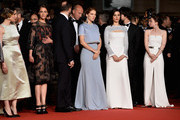 "Angeliki Papoulia,Ariane Labed,Yorgos Lanthimos,Lea Seydoux,Rachel Weisz, Ben Whishaw and Jessica Barden attend the Premiere of ""The Lobster"" during the 68th annual Cannes Film Festival on May 15, 2015 in Cannes, France."