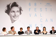 "(L-R) Actress Angeliki Papoulia, actor John C. Reilly, actress Lea Seydoux, actor Colin Farrell, director Yorgos Lanthimos, actress Rachel Weisz, and actress Ariane Labed attend the ""The Lobster"" press Conference during the 68th annual Cannes Film Festival on May 15, 2015 in Cannes, France."