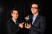 (EXCLUSIVE ACCESS, SPECIAL RATES APPLY) Chad Vaccarino (L) and Ian Axel from A Great Big World pose for a portrait with the Best New Music Group award at Logo TV's 2014 NewNowNext Awards at the Kimpton Surfcomber Hotel on December 2, 2014 in Miami Beach, Florida.