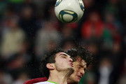Magomed Ozdoev (L) of FC Lokomotiv Moscow battles for the ball with Nelson Haedo Valdez of FC Rubin Kazan during the Russian Football League Championship match between FC Lokomotiv Moscow and FC Rubin Kazan at Lokomotiv Stadium on September 25, 2011 in Moscow, Russia.