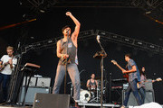 Jacob Tilley, Sameer Gadhia, Francois Comtois, Eric Cannata and Payam Doostzadeh of Young the Giant performs during 2014 Lollapalooza Day Three at Grant Park on August 3, 2014 in Chicago, Illinois.
