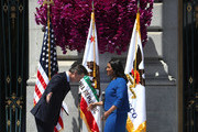 California Lt. Gov. Gavin Newsom (L) bows in front of San Francisco mayor London Breed after she was sworn in during her inauguration at San Francisco City Hall on July 11, 2018 in San Francisco, California. London Breed made history after being sworn in as the first black woman to be elected as mayor of San Francisco. Breed will finish out the term of former San Francisco mayor Ed Lee who died unexpectedly last year.