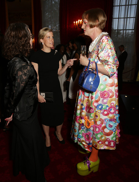 Sophie, Countess of Wessex speaks to artist Grayson Perry during a reception for the London College of Fashion at St James's Palace on April 28, 2015 in London, England.