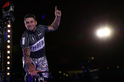 Edward Dawkins of New Zealand waves as he's introduced to the fans on day one of the London Six Day Race at the Lee Valley Velopark Velodrome on October 24, 2017 in London, England.