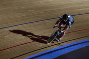 Edward Dawkins of New Zealand competes in the Mens 200m Flying Time Trial on day three of the London Six Day Race at the Lee Valley Velopark Velodrome on October 26, 2017 in London, England.