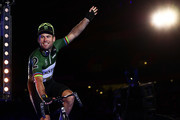 Mark Cavendish of Great Britain waves as he's introduced to the fans on day one of the London Six Day Race at the Lee Valley Velopark Velodrome on October 24, 2017 in London, England.