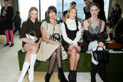 (L-R) Larsen Thompson, Bailee Madison, Lila Grace Moss Hack, and Coco Rocha attend the Longchamp Fall/Winter 2020 Runway Show at Hudson Commons on February 08, 2020 in New York City.