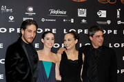 "(L to R) Actor Alberto Ammann, Spanish actresses Pilar Lopez de Ayala, Leonor Watling and director Andrucha Waddington attend ""Lope"" premiere at Capitol Cinema on September 1, 2010 in Madrid, Spain."
