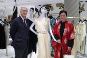 Ralph Pucci (L) and Rebecca Moses  pose with a mannequin they designer as Lord & Taylor celebrates The Dress Address with Janelle Monae at Lord & Taylor 5th Avenue on March 23, 2017 in New York City.