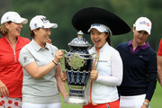 (L-R) Juli Inkster of the United States, Se Ri Pak of Korea, Sei Young Kim of Korea and Lorena Ochoa of Mexico hold the Lorena Ochoa Match Play Trophy after  the final round of the Citibanamex Lorena Ochoa Match Play Presented by Aeromexico and Delta at Club De Golf Mexico  on May 7, 2017 in Mexico City, Mexico.