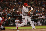 Albert Pujols #5 of the Los Angeles Angels bats against the Arizona Diamondbacks during the MLB game at Chase Field on August 22, 2018 in Phoenix, Arizona. The Diamondbacks defeated the Angels 5-1.