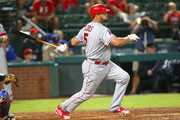 Albert Pujols #5 of the Los Angeles Angels of Anaheim hits in the seventh inning against the Texas Rangers at Globe Life Park in Arlington on August 18, 2018 in Arlington, Texas.