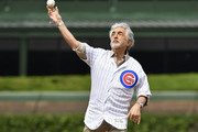 Joe Mantegna throws a ceremonial first pitch before the game between the Chicago Cubs and the Los Angeles Angels at Wrigley Field on June 03, 2019 in Chicago, Illinois.