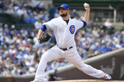 Jon Lester #34 of the Chicago Cubs pitches the ball in the first inning against the Los Angeles Angels at Wrigley Field on June 03, 2019 in Chicago, Illinois.