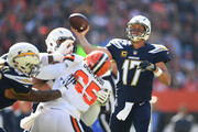 Philip Rivers #17 of the Los Angeles Chargers throws a pass in the first quarter against the Cleveland Browns at FirstEnergy Stadium on October 14, 2018 in Cleveland, Ohio.