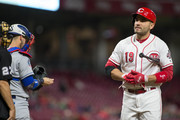 Joey Votto #19 of the Cincinnati Reds strikes out looking in the fourth inning against the Los Angeles Dodgers at Great American Ball Park on September 10, 2018 in Cincinnati, Ohio.
