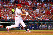 Matt Holliday #7 of the St. Louis Cardinals hits a single in the seventh inning against the Los Angeles Dodgers in Game Four of the National League Divison Series at Busch Stadium on October 7, 2014 in St Louis, Missouri.