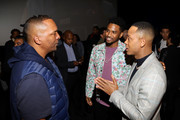 "(L-R) Deon Taylor, Trey Songz, and Terrence J attend the Los Angeles Influencer Special Screening of Sony Pictures' ""BLACK AND BLUE,"" hosted by Terrence J and Director Deon Taylor at ArcLight Hollywood on October 17, 2019 in Hollywood, California."