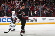 Michael Grabner #40 of the Arizona Coyotes celebrates after scoring a short-handed goal against the Los Angeles Kings during the first period of the NHL game at Gila River Arena on March 09, 2019 in Glendale, Arizona.