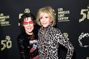 """Lily Tomlin and Jane Fonda attend Los Angeles LGBT Center Celebrates 50th Anniversary With """"Hearts Of Gold"""" Concert & Multimedia Extravaganza at The Greek Theatre on September 21, 2019 in Los Angeles, California."""