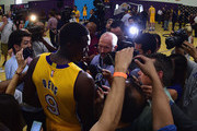 Luol Deng #9 of the Los Angeles Lakers speaks to members of the press during Los Angeles Laker media day at Toyota Sports Center on September 26, 2016 in El Segundo, California.