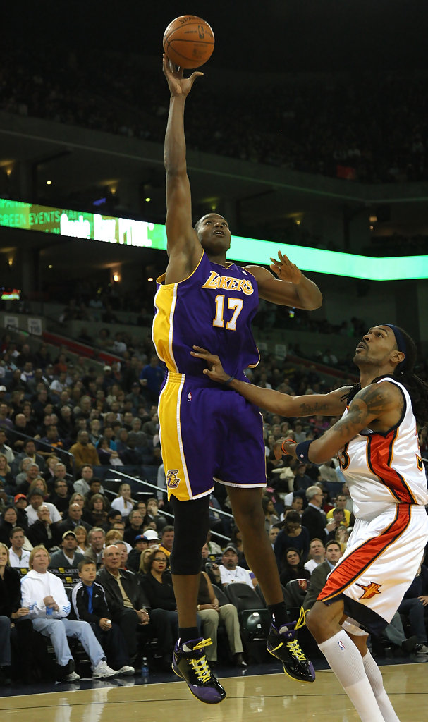 Andrew Bynum in Los Angeles Lakers v Golden State Warriors ...