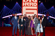 "(L-R) Actors Daniel Henney, Maya Rudolph, Ryan Potter, Scott Adsit, Jamie Chung, Genesis Rodriguez, T.J. Miller, Katie Lowes and Damon Wayons Jr. during the Los Angeles Premiere of Walt Disney Animation StudiosÂ' Â""Big Hero 6' at El Capitan Theatre on November 4, 2014 in Hollywood, California."