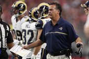 Head coach Jeff Fisher of the Los Angeles Rams reacts on the sidelines during the second quarter of the NFL game against the Arizona Cardinals at the University of Phoenix Stadium on October 2, 2016 in Glendale, Arizona.