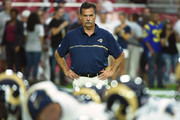 Head coach Jeff Fisher of the Los Angeles Rams watches his team warm up prior to the NFL game against the Arizona Cardinals at University of Phoenix Stadium on October 2, 2016 in Glendale, Arizona.