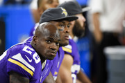 Adrian Peterson #28 of the Minnesota Vikings looks on during the game against the Los Angeles Rams on September 1, 2016 at US Bank Stadium in Minneapolis, Minnesota. The Vikings defeated the Rams 27-25.